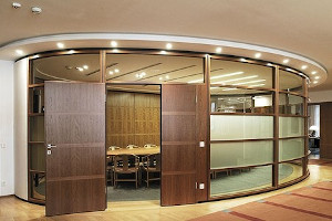 partition design using wood and 12mm glass