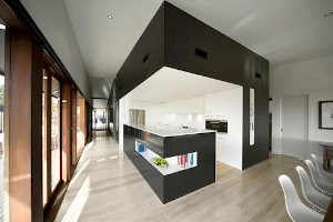 Contemporary Residential Interior with small open kitchen