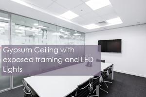 Gypsum Ceiling with Exposed Aluminum Framing