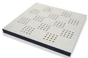perforated raised floor panel for air flow and ventilation purposes