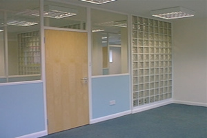 wood and glass partition