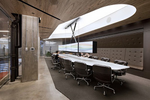 office interior design with wooden texture ceiling and walls